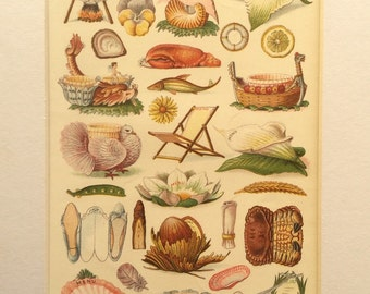 Antique Victorian 1909 Bookplate Mrs Beeton's Culinary MENU CARDS Cookery Chromolithograph Print
