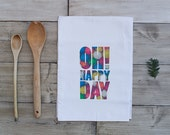 Oh Happy Day Tea Towel | Happiness | Bubblegum | Gum balls | Fun Kitchen Decor