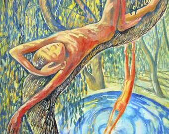 original watercolor painting size 30x42 cm