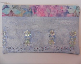 Handcrafted Makeup Money Zip Pouch Upcycled Cotton Fabrics Embellished