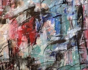 1-22-16 (abstract expressionist painting, black, white, blue, green, maroon. silver, red)