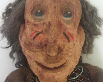 Vintage Carved Folk Art Primitive Collectable Jointed Doll Rustic Old Man