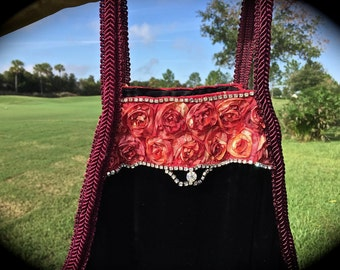 Izzy Roo  Gypsy Boho Jumper Top Beaded  Velvet With Roses Rhinestone Trim OOAK Luscious