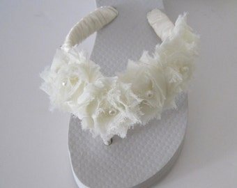Flip Flops Bridal Wedding Ivory with Chiffon Flowers and Pearl and Rhinestone Accent on Side French Knotted Wedding Sandals