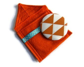 Bright Orange Felt Pouch With Small Pocket Mirror- Fabric Covered Handbag Mirror