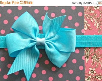 CHRISTMAS In JULY SALE Shabby Chic Baby Bow Headband - Small Flower Headband - Baby Photo Prop