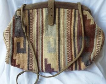 Vintage Saltillo Southwestern Woven Textile Purse