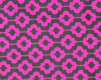 Pink gray flowers. Flannel fabric by the yard.  Cut by the 1/2 yard (18 inches).  Flowers, geometric pattern.