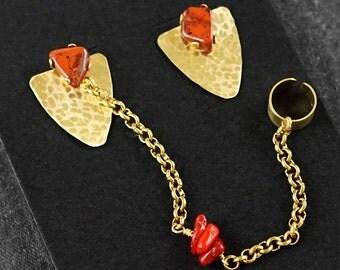 RED JASPER & CORAL Earring Set - Studs, Ear-Cuff, Ear-Jacket - Brass