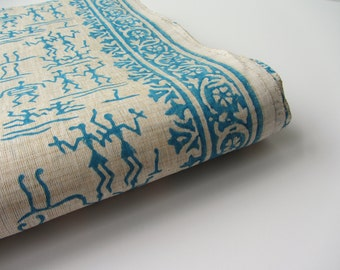 Light blue warli tribal block printed on beige cotton silk India fabric nr 641