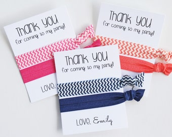 Thank You for coming to my party! Elastic Hair Ties / Birthday Party Favor / 2-ct / Wristlet Tie / Chevron / Choose Your Colors!
