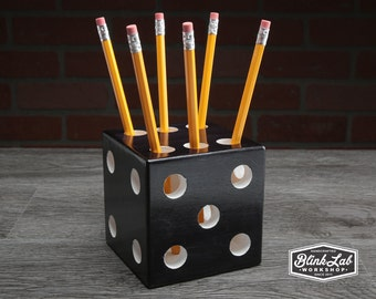 Black Dice with White Dots, Pen and Pencil Holder, Detroit USA, Desk Organizer, Office Supply, School Work Home, Pencil Storage, Lucky Roll