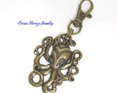 Zipper Pull, Purse Charm, Backpack Tag, Key Chain -  Green Eyed Octopus