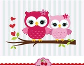 Valentine's Day Sweet Owls,Owls for Big sister and Lil siters clip art CHERRY1- for Personal and Commercial Use