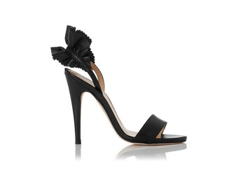 L.K BENNETTI London Renae Leather Ruffle Strap Sandal