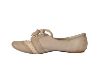 Wingtip Shoe Women Spectator Shoe Ballet Slipper Ballet Flat With Ribbon Women Shoe Size 10 Tan Shoe Women Oxford Shoe Hipster Shoe Retro