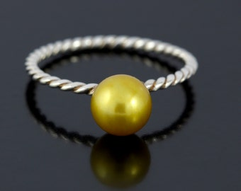 June Birthstone Ring. Gold Pearl Twisted Rope Ring in Sterling Silver. South Sea Golden Pearl Ring in Twisted Silver - CS1515