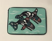Northwest Native American ORCAS  iPad/Laptop Zippered Sleeve designed by Tlingit Artist Israel Shotridge
