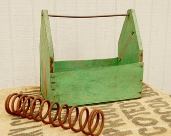 Industrial Wood Tool Box, Green Shabby Wood Box, Rustic Wood Box, Industrial Storage, Vintage Storage, Vintage Tool Tray Industrial Tool Box