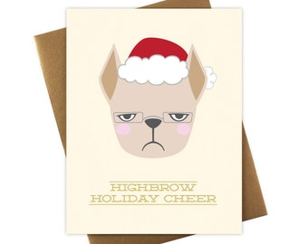 French Bulldog Holiday Card - Highbrow Frenchie Christmas Card