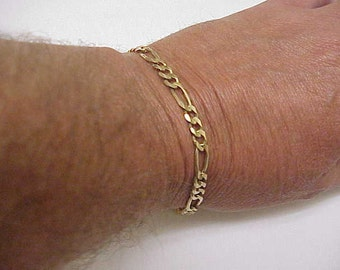 "Solid 14k Yellow Gold Figaro Link Chain Bracelet 9 3/4"",12.8gr , Lobster Claw Clasp"