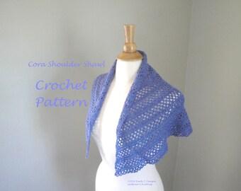 Cora Shoulder Shawl Crochet Pattern, Shawlette, Easy Lace Shawl, Fingering Yarn