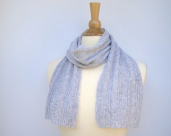 Short Knit Scarf, Pure Cashmere, Lightweight Scarf, Small Neck Scarf, Women's Scarf, Gift for Her, Silver Gray