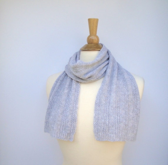 Knitting Pattern For Small Neck Scarf : Short Knit Scarf Pure Cashmere Lightweight Scarf Small Neck