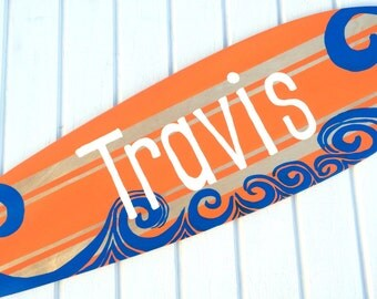 Orange Beach Themed Surfboard Sign for your Boys Bedroom Decor - Large 36 inch