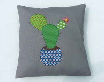 "Cactus cushion cover,  Prickly Pear, decorative, throw cushion. Appliquéd cotton on linen, 16""/40cm. Free motion embroidery."