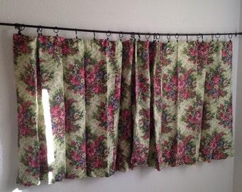 Vintage Floral Curtains, Vintage Short Wide Curtains, Vintage Retro Curtains, Green Pink Flower Curtains, Curtain Pair, Extra Wide Curtains