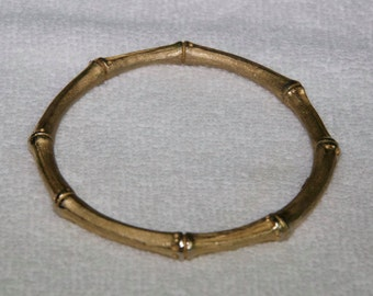 Vintage Authentic Trifari Goldtone Bamboo Bangle