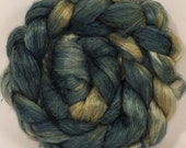 Hand dyed baby camel/ tussah silk top for spinning  - Weld and Indigo - (3.2 oz.) baby camel /silk ( 50/50)