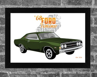 1968 FORD TORINO limited edition art print. Available in 3 sizes!