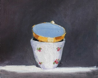 Still Life Painting, Vintage Cups against dark background, Original Oil on Wood, 12x12 inch Canadian Fine Art