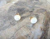Mother of Pearl Studs, Mother of Pearl Earrings, 14K Gold Filled Post Earrings, Gold Studs, Mother Of Pearl Jewelry Gifts For Her