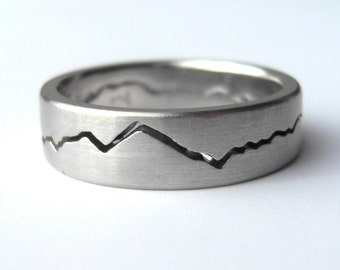 Custom Modern Mountain Ring, 7mm band wide Mountain Wedding Band, Handmade from Recycled Silver, Gold, Palladium & Platinum