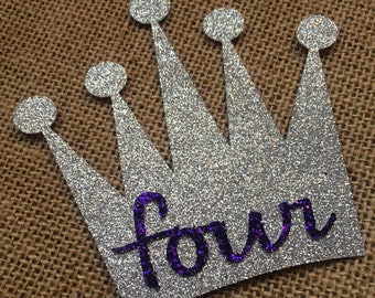 Silver Glitter Crown Cake Topper **READY TO SHIP**