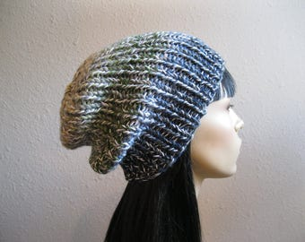 Blue Green Knit Beanie - Ribbed Beanie - Slouchy Beanie - Beanie Hat - Knitted Slouchy Beanie - Beanies -Knit Beanie Hat - louchy Beanie Hat