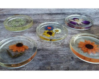 Preserved Nature, Flowers/Butterfly enclosed in clear casting Resin, Round Coasters. Bohemian Home/Table Decor.