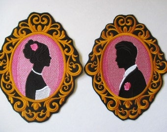 Embroidered Bride and Groom Applique Patch, Iron On or Sew On, Bride and Groom or the Pair, Wedding Day, Decor, Gift,  Pillow, Wall Hanging