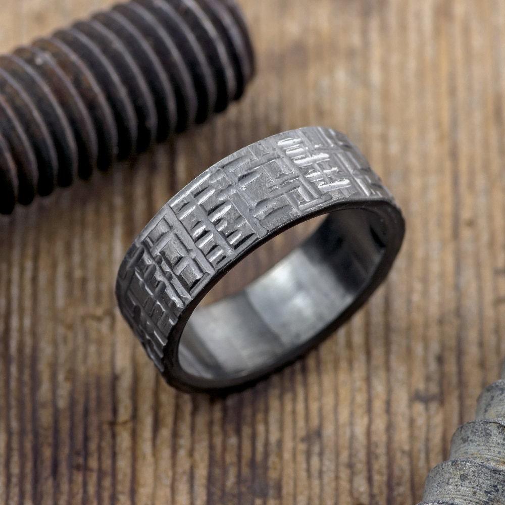 8mm textured mens wedding band rhodium plated