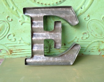 Corrugated Metal E, Unfinished Metal E, Gallery Wall Letter E, Home Decor Letters