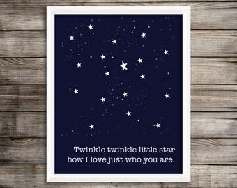 Twinkle Twinkle Nursery Children's Art Print  8 X10 Home Decor ~ Digital Download