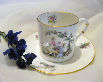 Vintage Royal Bone China Worcester Watteau Teacup & Saucer-Wildflowers-Made in England-1960's