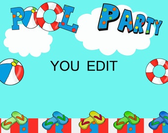 Pool Party invitation, Instant download, editable file, you edit, you print, flip flops invitation, pool party invitation, summer party,