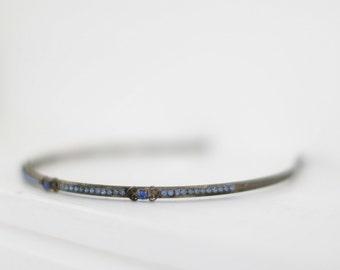 1920s Blue Rhinestone Headband. // Something Blue. Silver Tone. //  Bridal Headband. Vintage Hair accessories.