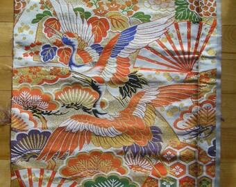 Vintage Japanese Kimono Obi Fabric Piece Cranes Orange Royal Blue White Green Gold Black