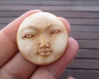 Antique look 30mm Gorgeous Moon face , Buffalo bone carving , Embellishment, Organic cabochon, Jewelry making Supplies S3482