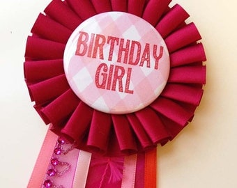 Birthday Girl Pin, Red & Pink Rosette Pin, Birthday Party Button